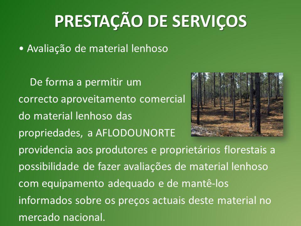 Avaliação de material lenhoso De forma a permitir um correcto aproveitamento comercial do material lenhoso das propriedades, a AFLODOUNORTE providenci