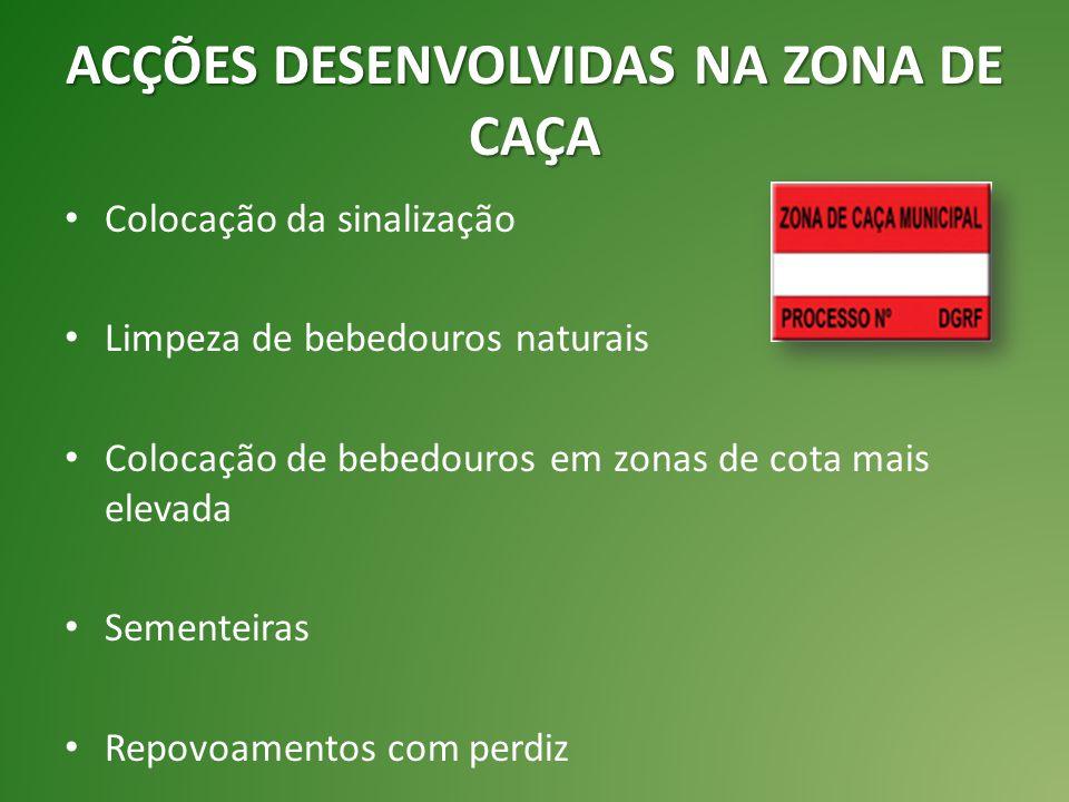 ACÇÕES DESENVOLVIDAS NA ZONA DE CAÇA Colocação da sinalização Limpeza de bebedouros naturais Colocação de bebedouros em zonas de cota mais elevada Sementeiras Repovoamentos com perdiz