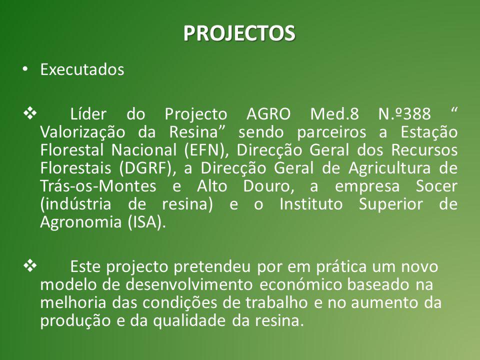 """PROJECTOS Executados  Líder do Projecto AGRO Med.8 N.º388 """" Valorização da Resina"""" sendo parceiros a Estação Florestal Nacional (EFN), Direcção Geral"""