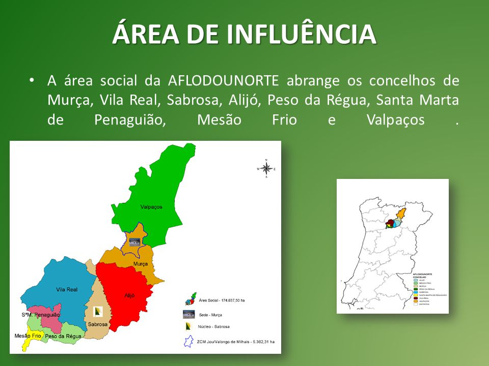 ÁREA DE INFLUÊNCIA A área social da AFLODOUNORTE abrange os concelhos de Murça, Vila Real, Sabrosa, Alijó, Peso da Régua, Santa Marta de Penaguião, Mesão Frio e Valpaços.