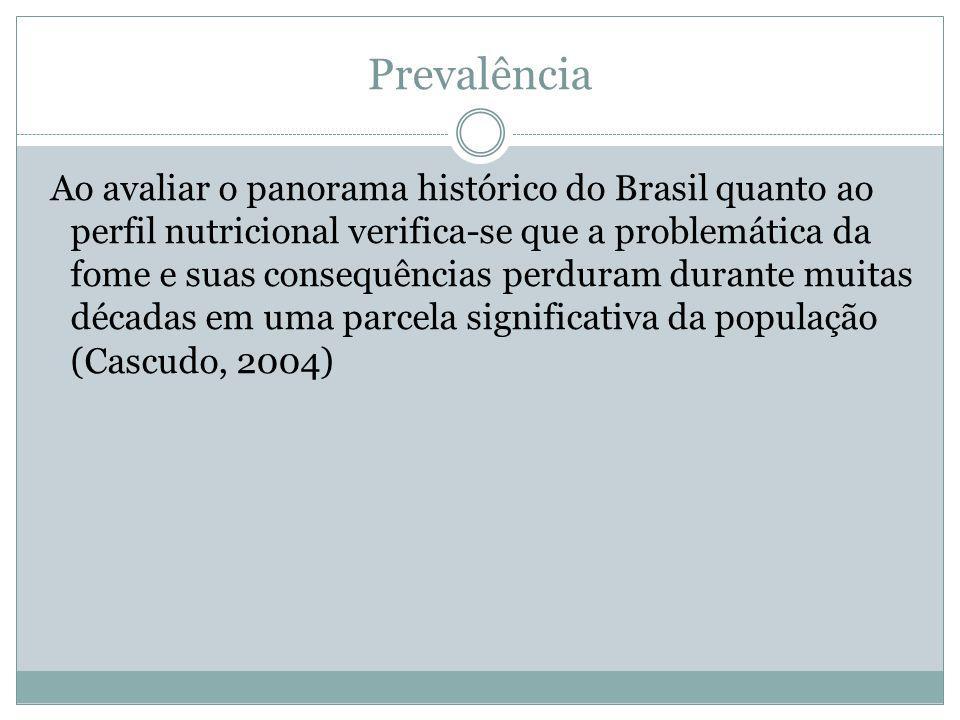 Prevalência Ao avaliar o panorama histórico do Brasil quanto ao perfil nutricional verifica-se que a problemática da fome e suas consequências perdura