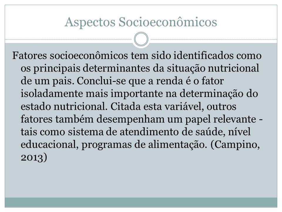 Aspectos Socioeconômicos Fatores socioeconômicos tem sido identificados como os principais determinantes da situação nutricional de um pais. Conclui-s
