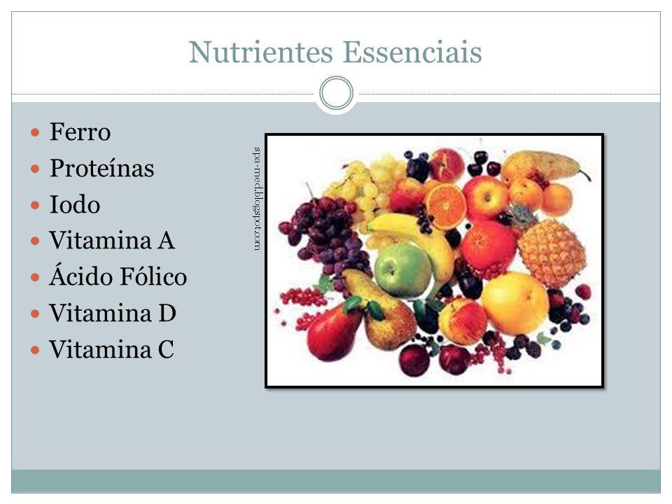 Nutrientes Essenciais Ferro Proteínas Iodo Vitamina A Ácido Fólico Vitamina D Vitamina C spa-med.blogspot.com