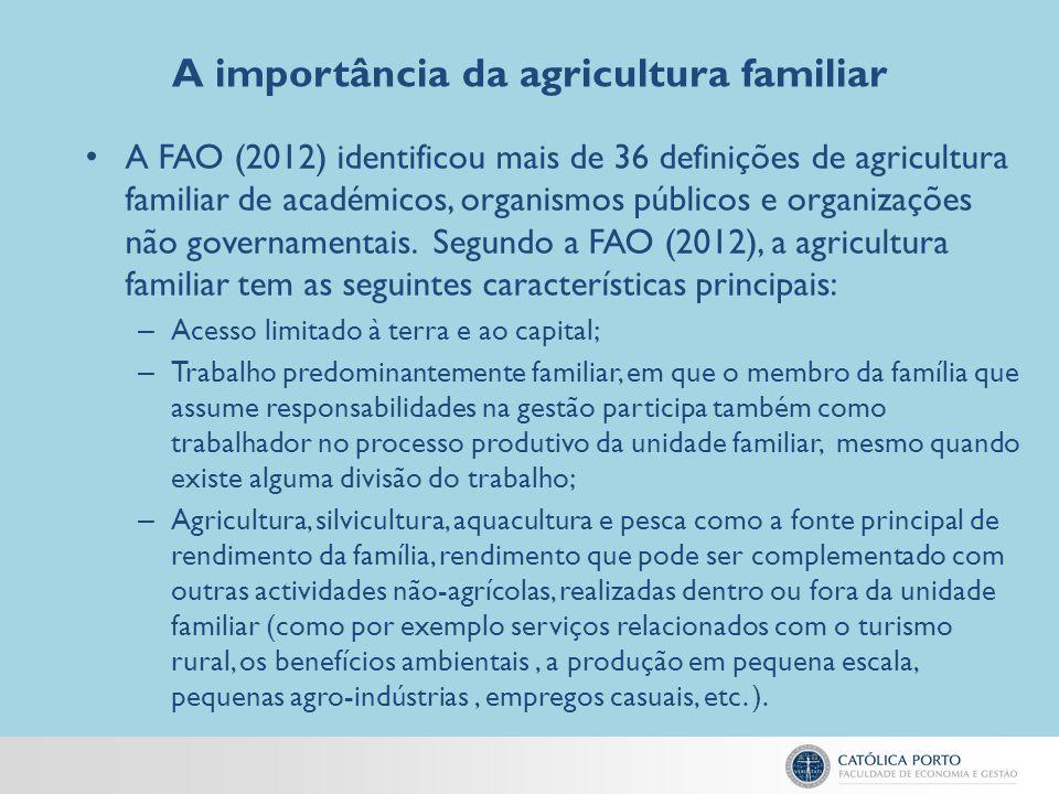 A importância da agricultura familiar A FAO (2012) identificou mais de 36 definições de agricultura familiar de académicos, organismos públicos e orga