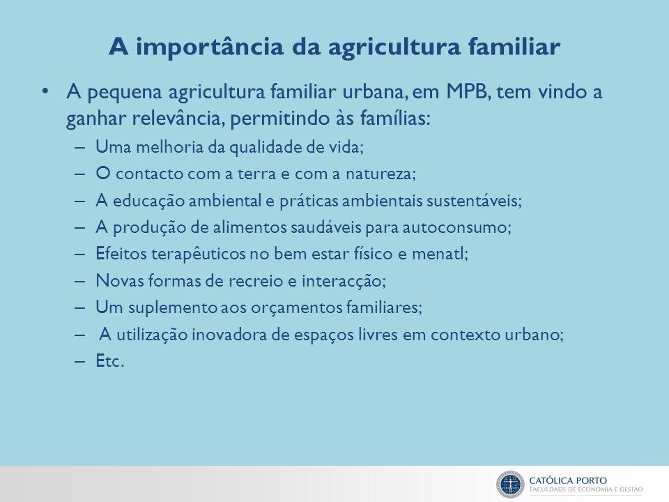 A importância da agricultura familiar A pequena agricultura familiar urbana, em MPB, tem vindo a ganhar relevância, permitindo às famílias: – Uma melh