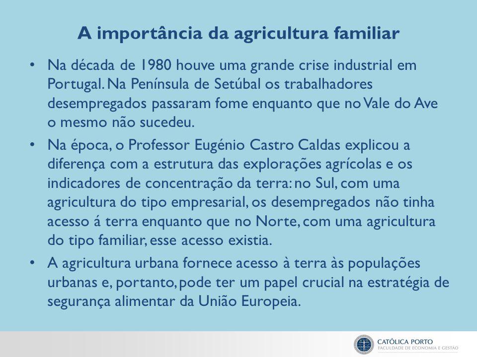A importância da agricultura familiar Na década de 1980 houve uma grande crise industrial em Portugal. Na Península de Setúbal os trabalhadores desemp
