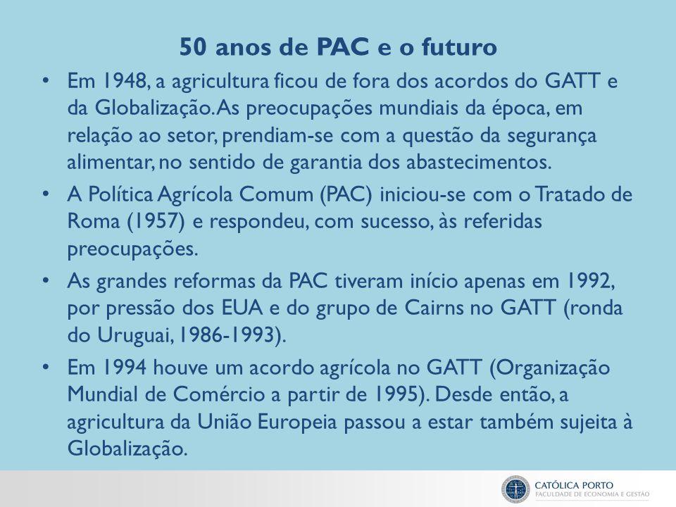 50 anos de PAC e o futuro Em 1948, a agricultura ficou de fora dos acordos do GATT e da Globalização. As preocupações mundiais da época, em relação ao