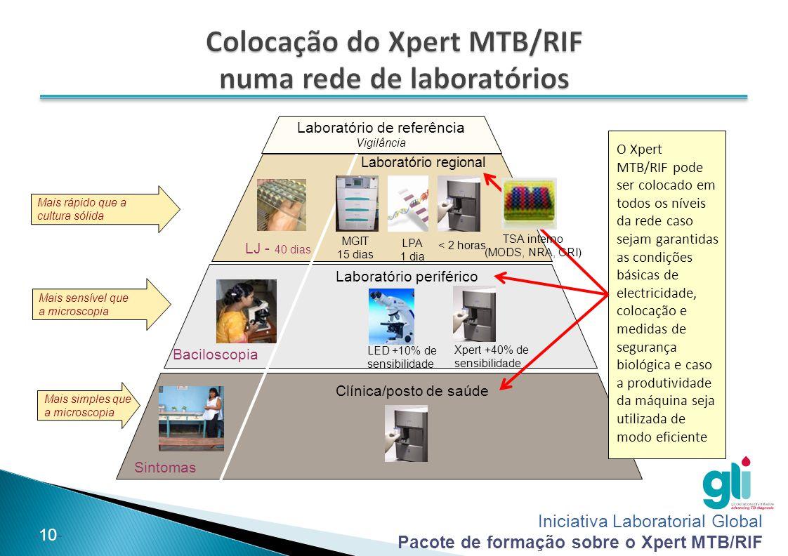 Iniciativa Laboratorial Global Pacote de formação sobre o Xpert MTB/RIF -10- Sintomas Baciloscopia LJ - 40 dias Laboratório de referência Vigilância C