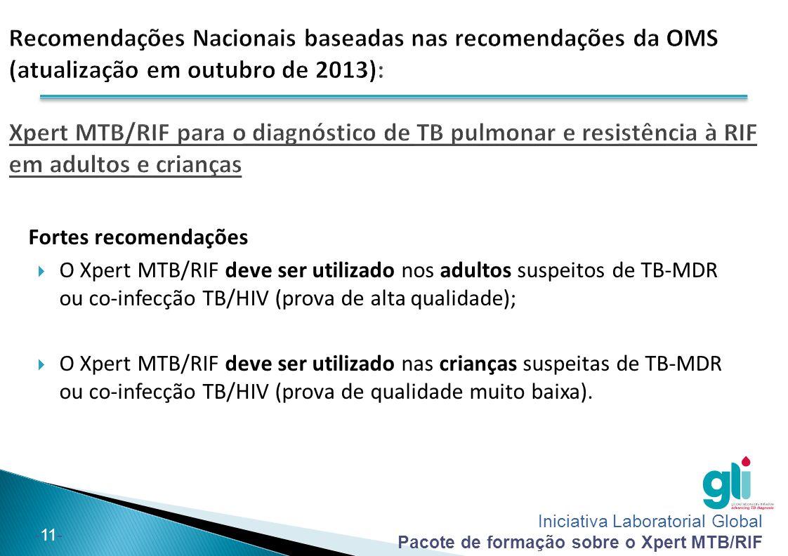 Iniciativa Laboratorial Global Pacote de formação sobre o Xpert MTB/RIF -11- Fortes recomendações  O Xpert MTB/RIF deve ser utilizado nos adultos sus