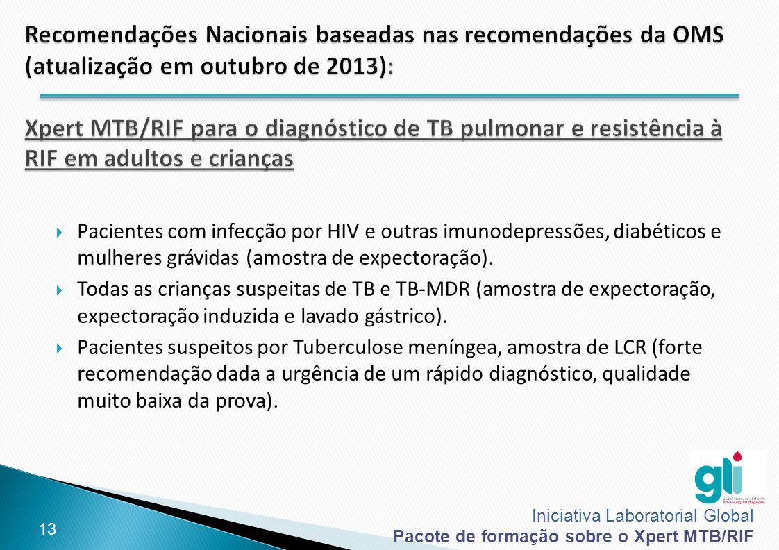Iniciativa Laboratorial Global Pacote de formação sobre o Xpert MTB/RIF -13-  Pacientes com infecção por HIV e outras imunodepressões, diabéticos e m