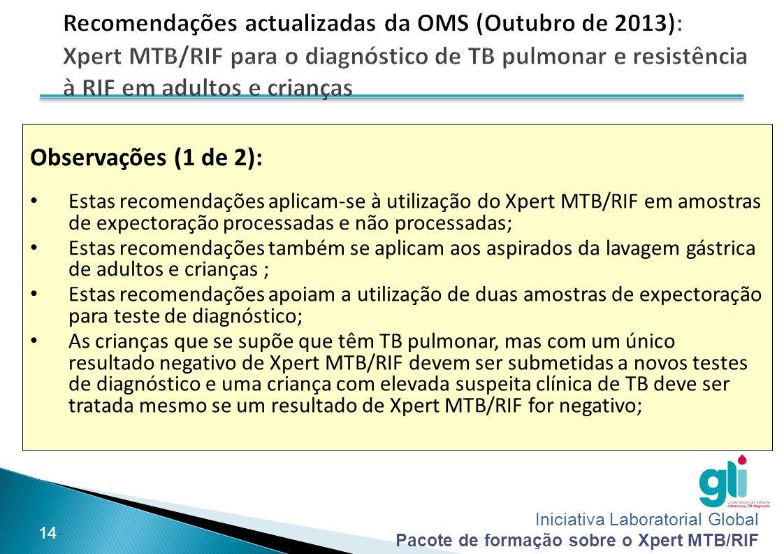 Iniciativa Laboratorial Global Pacote de formação sobre o Xpert MTB/RIF -14- Observações (1 de 2): Estas recomendações aplicam-se à utilização do Xper