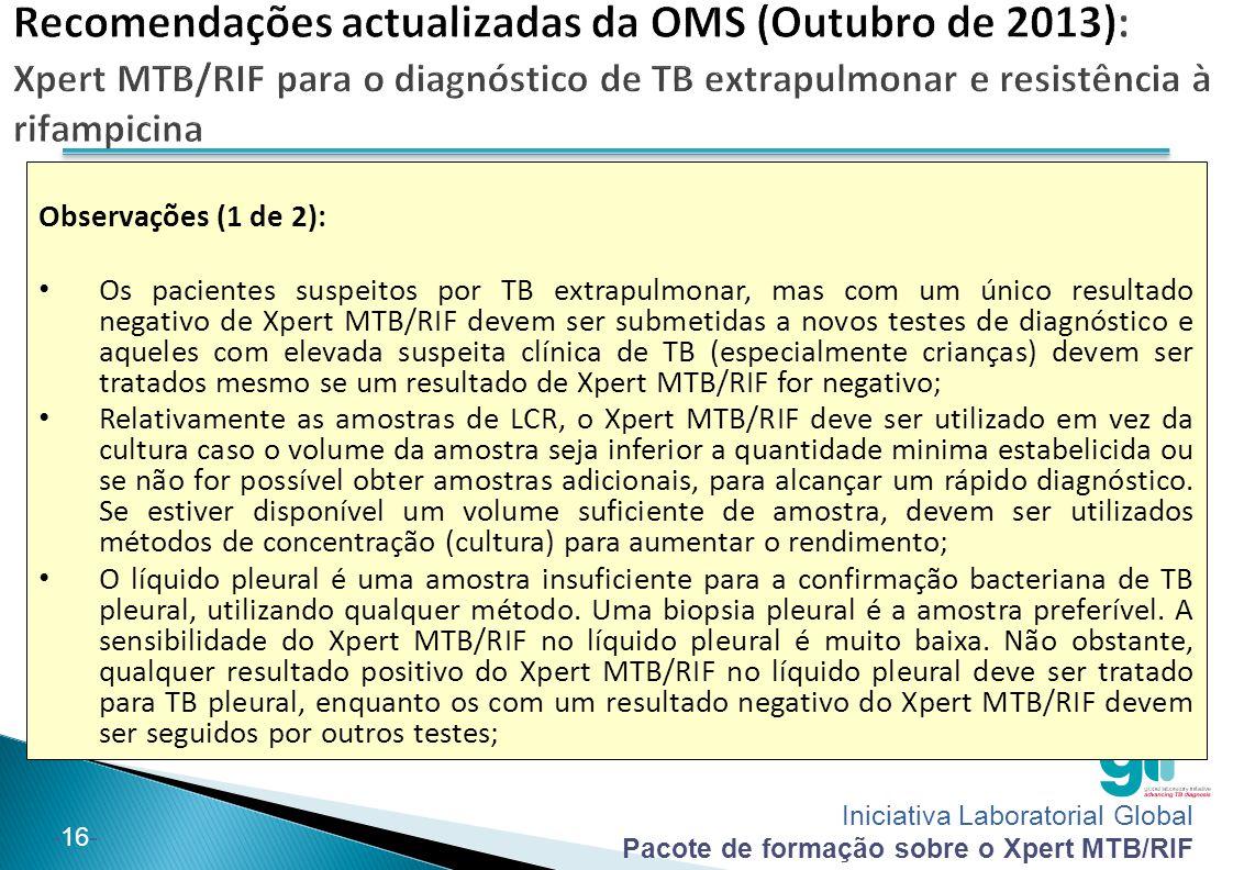 Iniciativa Laboratorial Global Pacote de formação sobre o Xpert MTB/RIF -16- Observações (1 de 2): Os pacientes suspeitos por TB extrapulmonar, mas co