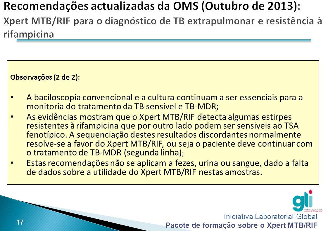 Iniciativa Laboratorial Global Pacote de formação sobre o Xpert MTB/RIF -17- Observações (2 de 2): A baciloscopia convencional e a cultura continuam a