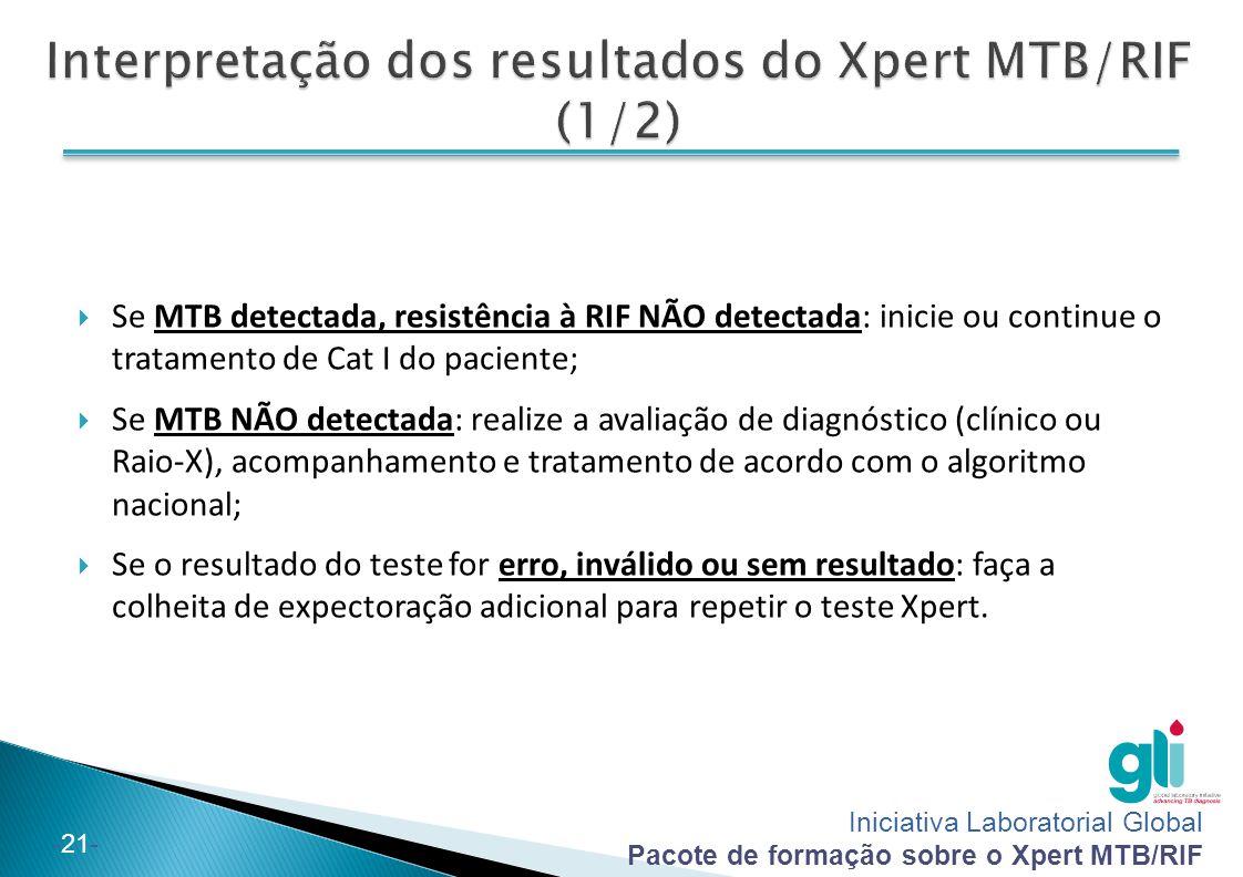 Iniciativa Laboratorial Global Pacote de formação sobre o Xpert MTB/RIF -21-  Se MTB detectada, resistência à RIF NÃO detectada: inicie ou continue o