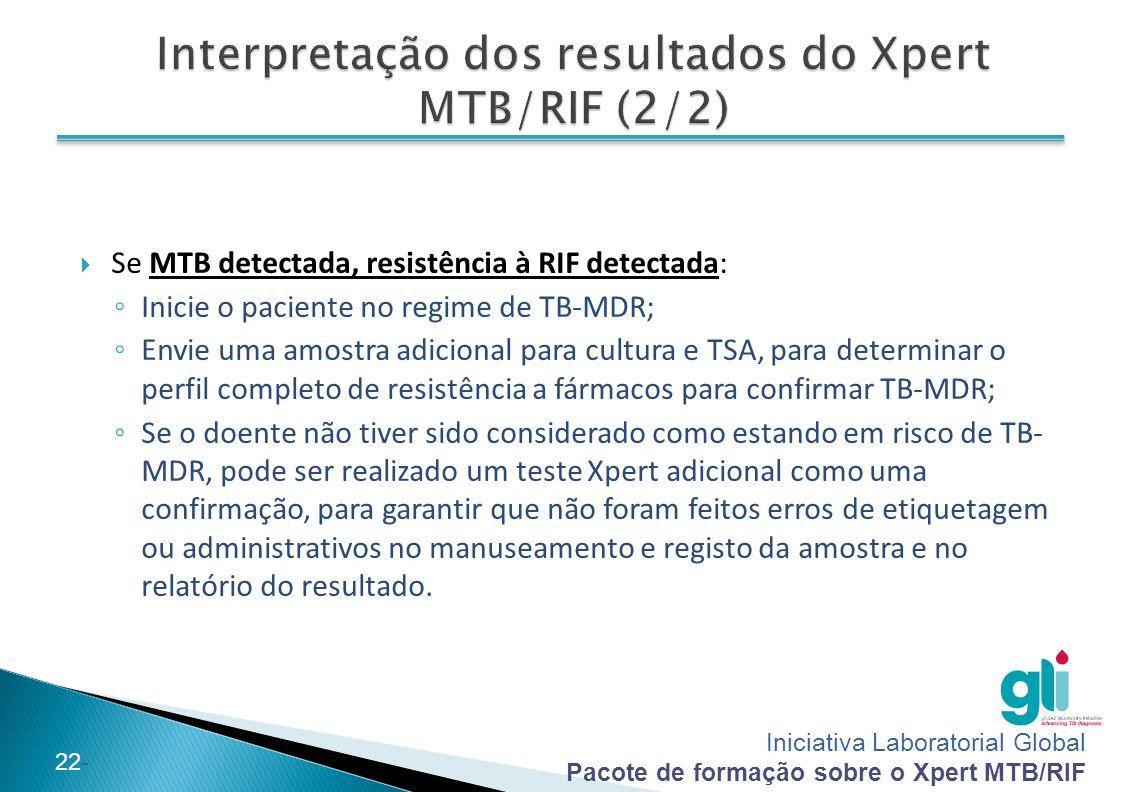 Iniciativa Laboratorial Global Pacote de formação sobre o Xpert MTB/RIF -22-  Se MTB detectada, resistência à RIF detectada: ◦ Inicie o paciente no r