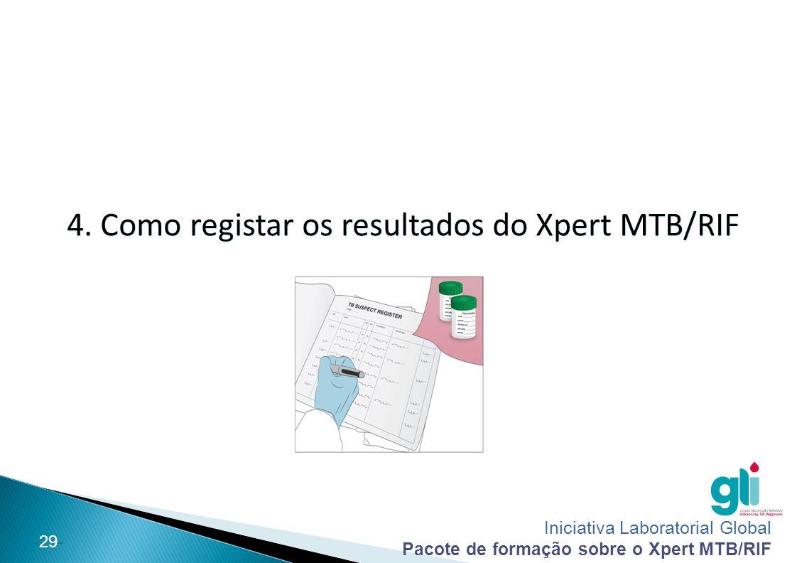 Iniciativa Laboratorial Global Pacote de formação sobre o Xpert MTB/RIF -29- 4. Como registar os resultados do Xpert MTB/RIF