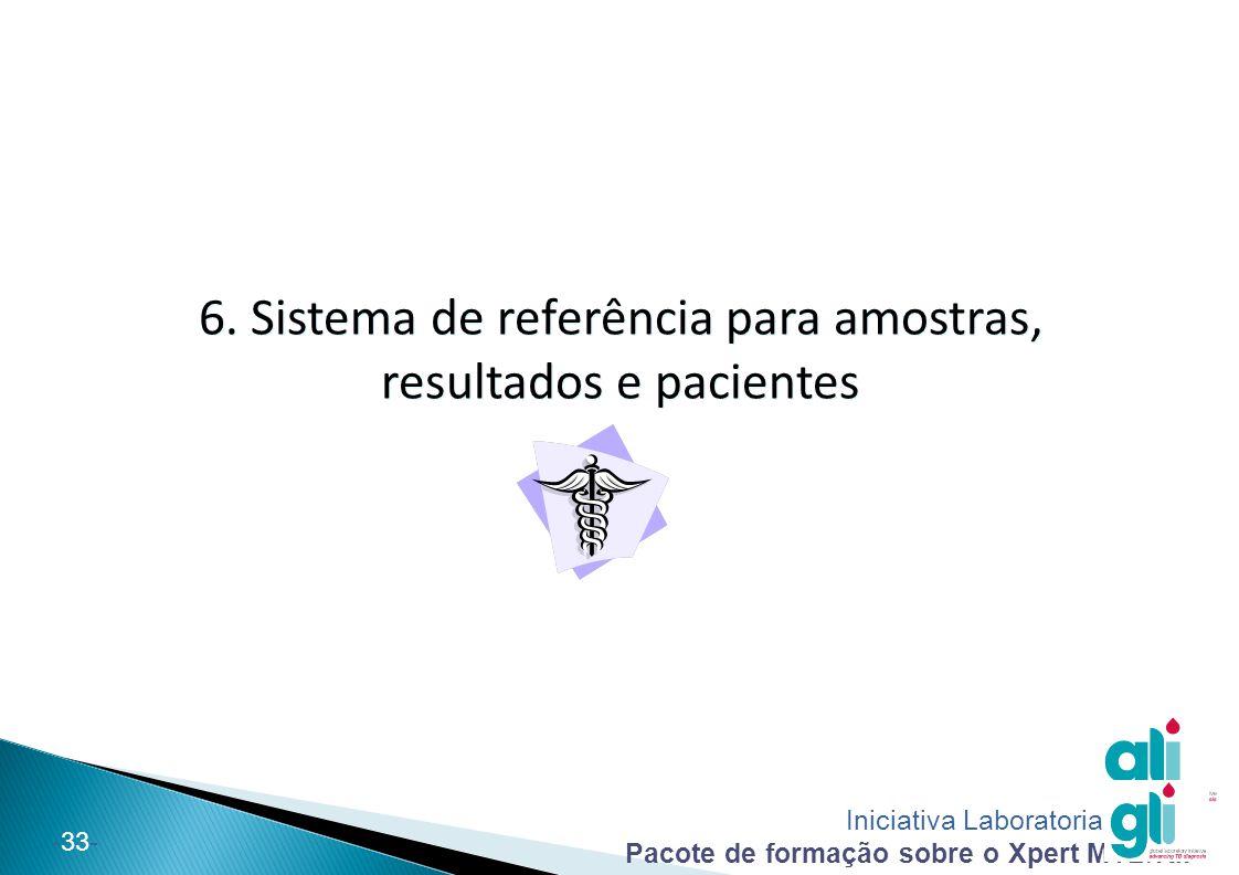 Iniciativa Laboratorial Global Pacote de formação sobre o Xpert MTB/RIF -33- 6. Sistema de referência para amostras, resultados e pacientes