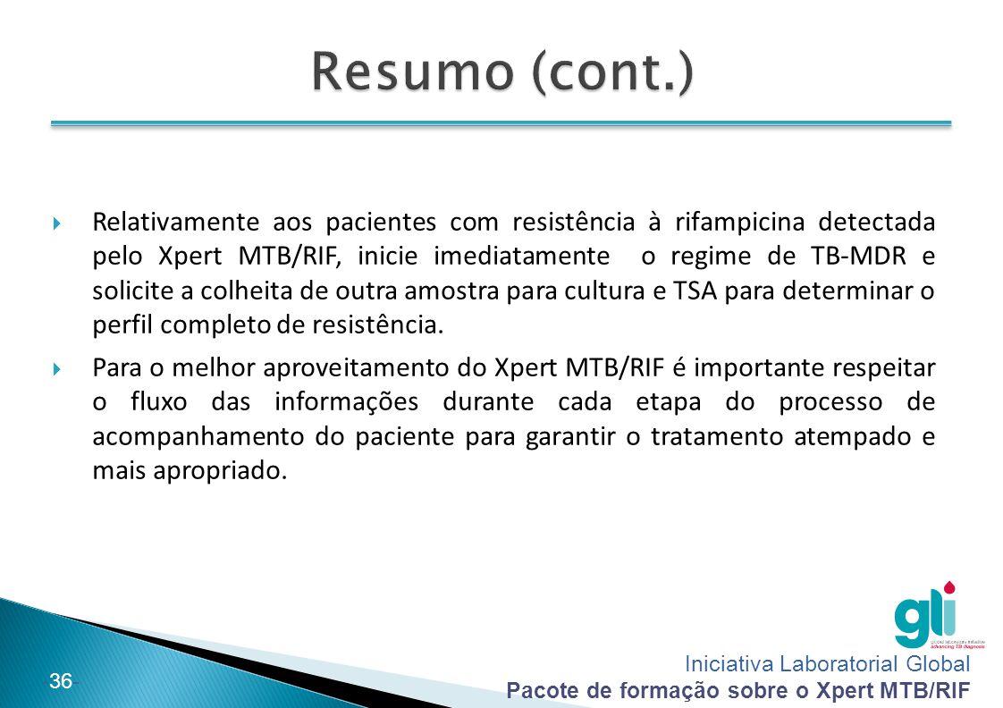 Iniciativa Laboratorial Global Pacote de formação sobre o Xpert MTB/RIF -36-  Relativamente aos pacientes com resistência à rifampicina detectada pel