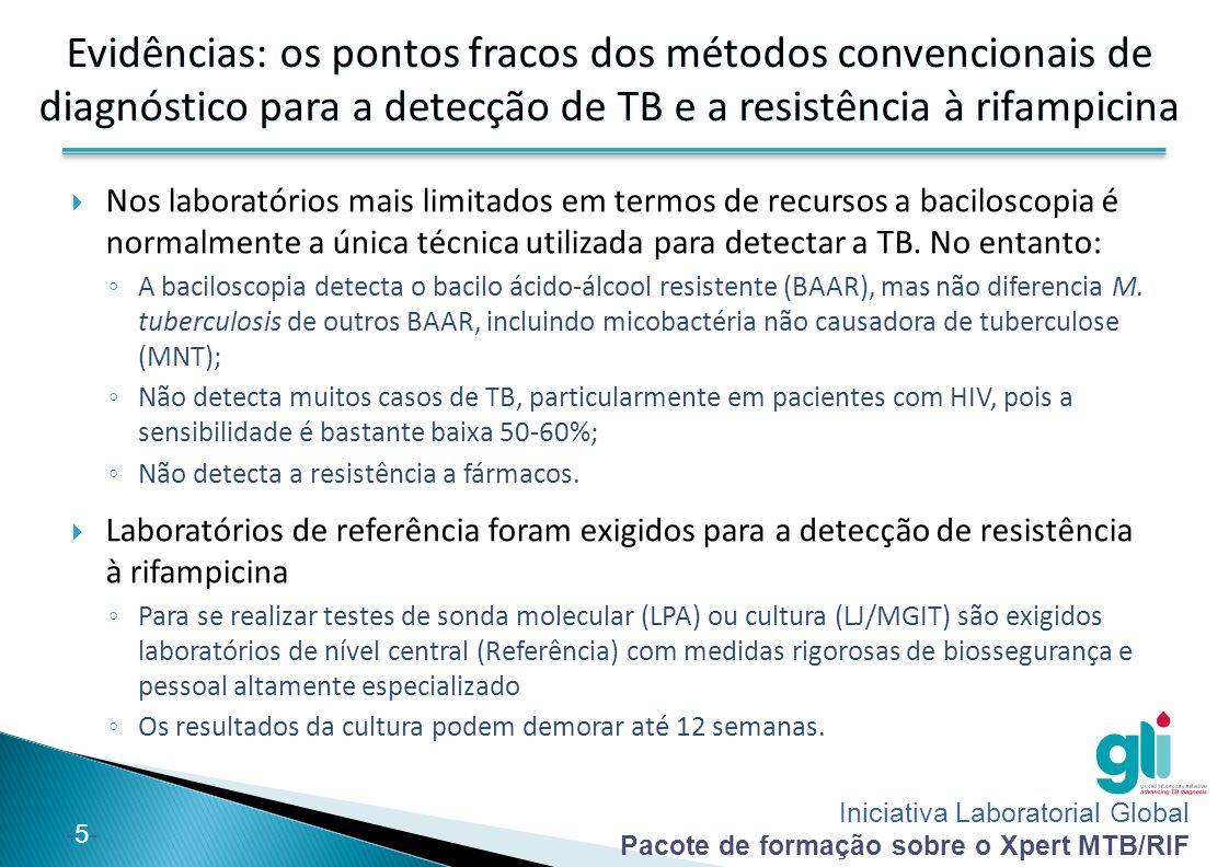 Iniciativa Laboratorial Global Pacote de formação sobre o Xpert MTB/RIF -16- Observações (1 de 2): Os pacientes suspeitos por TB extrapulmonar, mas com um único resultado negativo de Xpert MTB/RIF devem ser submetidas a novos testes de diagnóstico e aqueles com elevada suspeita clínica de TB (especialmente crianças) devem ser tratados mesmo se um resultado de Xpert MTB/RIF for negativo; Relativamente as amostras de LCR, o Xpert MTB/RIF deve ser utilizado em vez da cultura caso o volume da amostra seja inferior a quantidade minima estabelicida ou se não for possível obter amostras adicionais, para alcançar um rápido diagnóstico.
