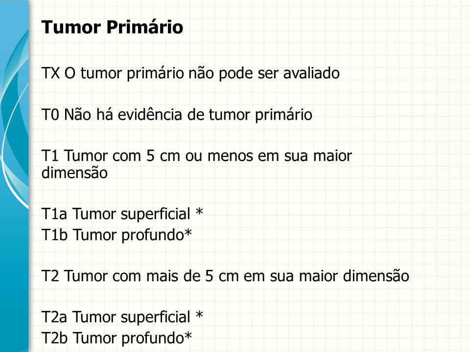 Tumor Primário TX O tumor primário não pode ser avaliado T0 Não há evidência de tumor primário T1 Tumor com 5 cm ou menos em sua maior dimensão T1a Tu