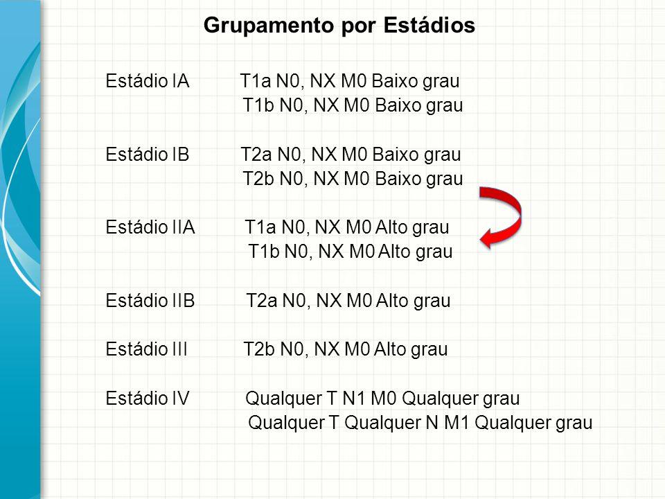 Grupamento por Estádios Estádio IA T1a N0, NX M0 Baixo grau T1b N0, NX M0 Baixo grau Estádio IB T2a N0, NX M0 Baixo grau T2b N0, NX M0 Baixo grau Está