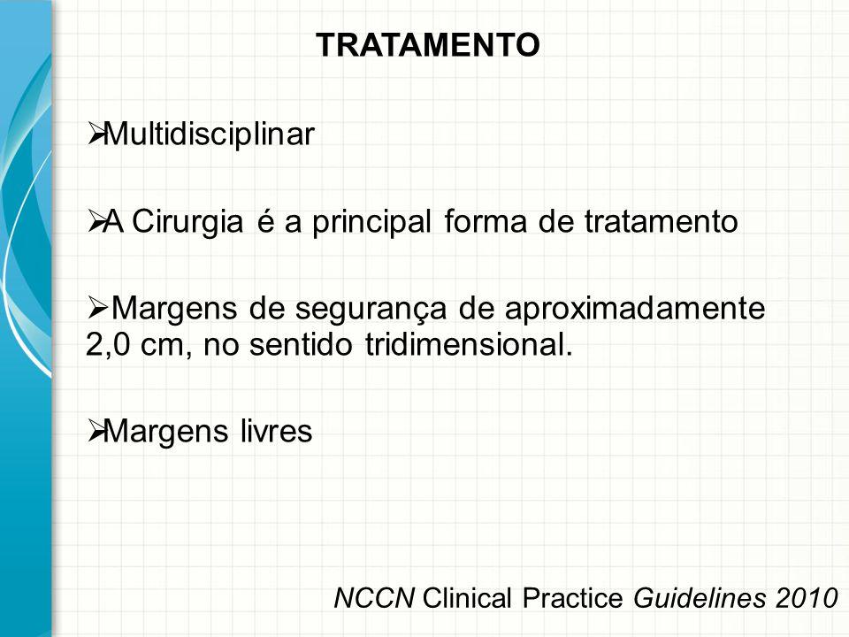 TRATAMENTO  Multidisciplinar  A Cirurgia é a principal forma de tratamento  Margens de segurança de aproximadamente 2,0 cm, no sentido tridimension
