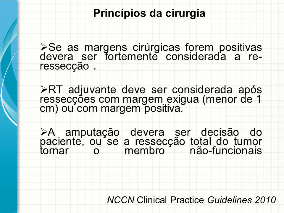  Se as margens cirúrgicas forem positivas devera ser fortemente considerada a re- ressecção.  RT adjuvante deve ser considerada após ressecções com