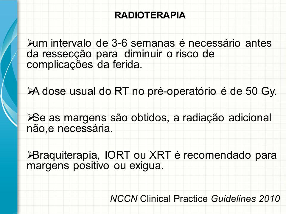  um intervalo de 3-6 semanas é necessário antes da ressecção para diminuir o risco de complicações da ferida.  A dose usual do RT no pré-operatório