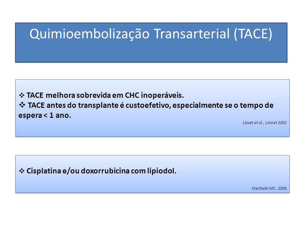 Quimioembolização Transarterial (TACE)  TACE melhora sobrevida em CHC inoperáveis.