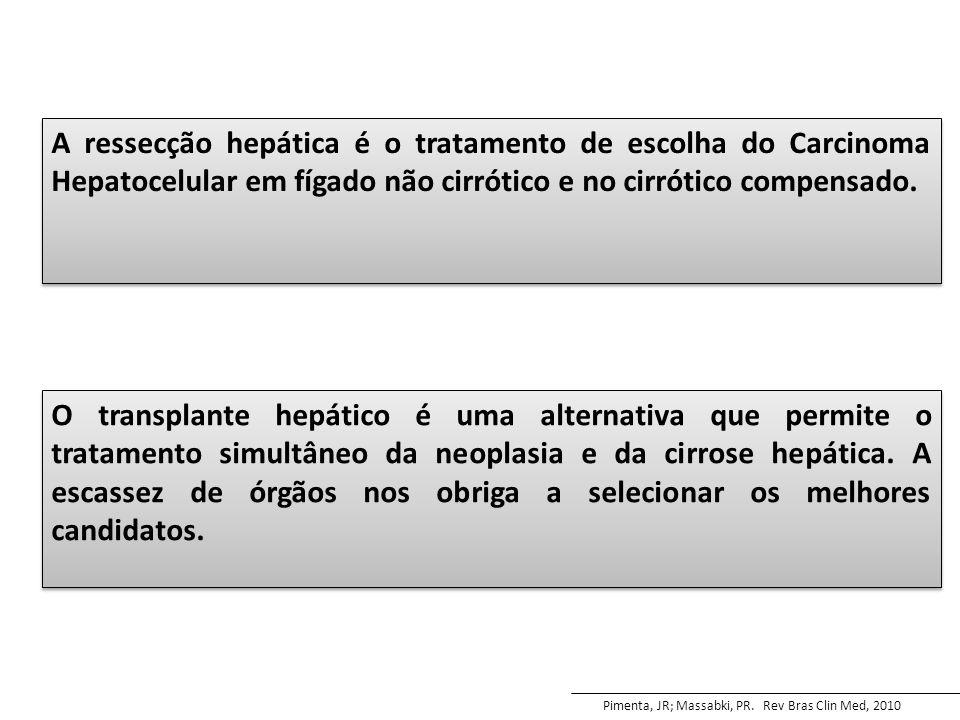 A ressecção hepática é o tratamento de escolha do Carcinoma Hepatocelular em fígado não cirrótico e no cirrótico compensado.