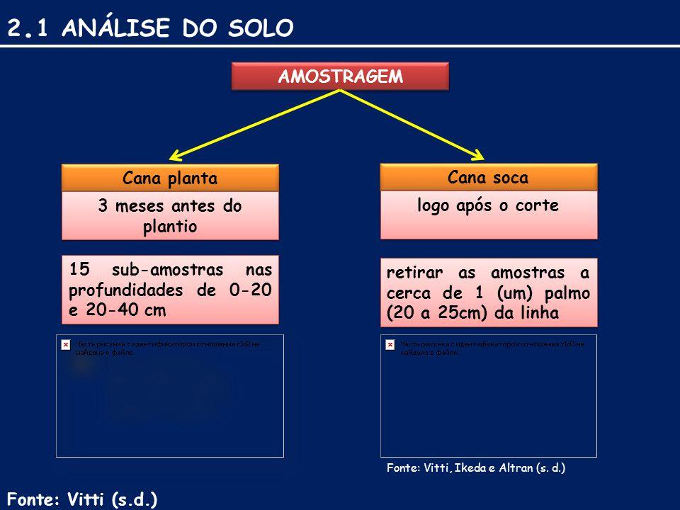 AMOSTRAGEM Cana planta Cana soca 3 meses antes do plantio logo após o corte 15 sub-amostras nas profundidades de 0-20 e 20-40 cm retirar as amostras a cerca de 1 (um) palmo (20 a 25cm) da linha Fonte: Vitti (s.d.) 2.
