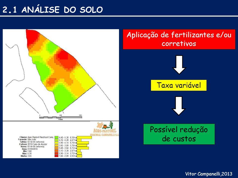 2. 1 ANÁLISE DO SOLO Vitor Campanelli,2013 Aplicação de fertilizantes e/ou corretivos Taxa variável Possível redução de custos