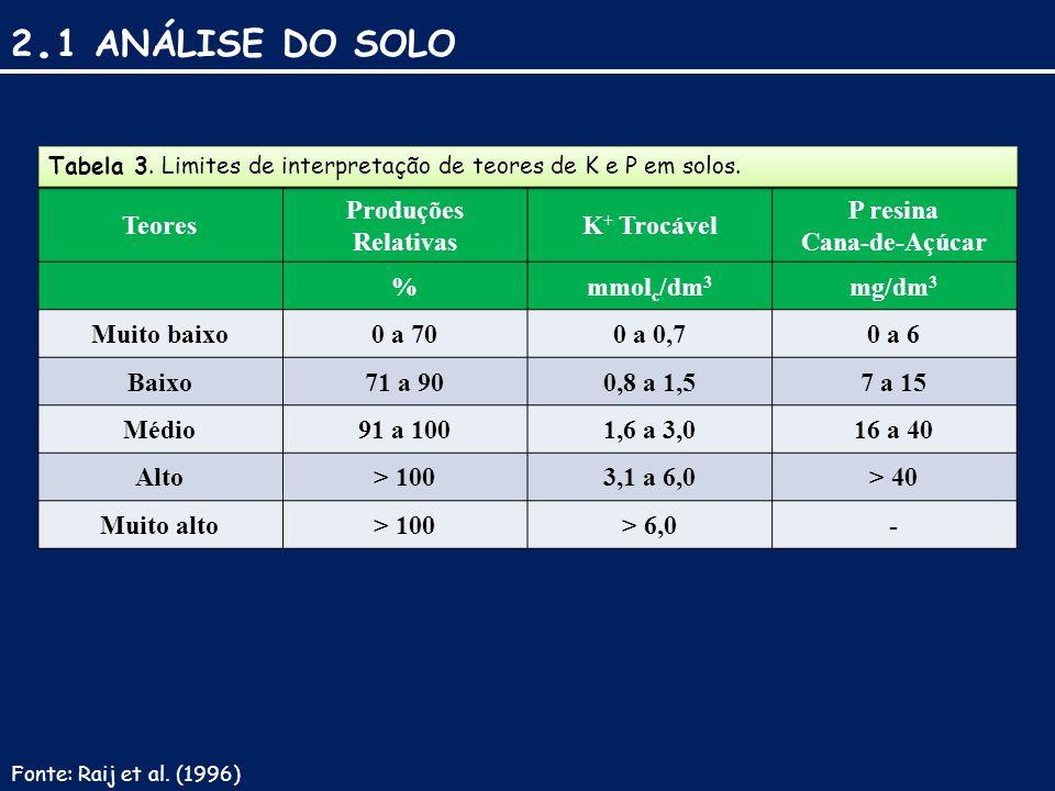 2. 1 ANÁLISE DO SOLO Teores Produções Relativas K + Trocável P resina Cana-de-Açúcar %mmol c /dm 3 mg/dm 3 Muito baixo0 a 700 a 0,70 a 6 Baixo71 a 900