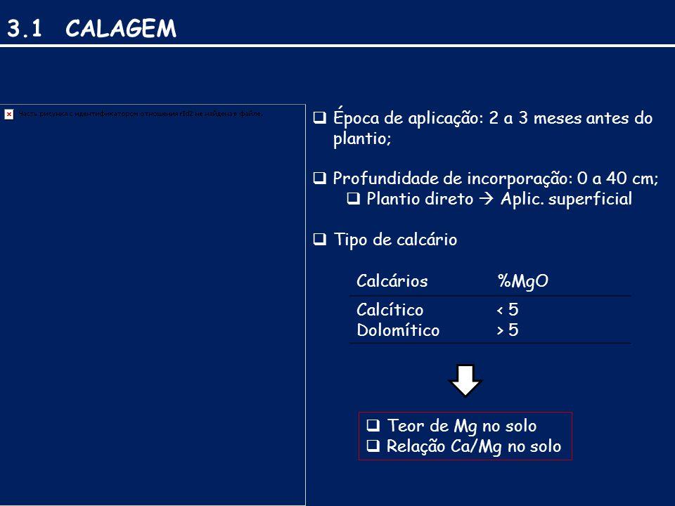 3.1 CALAGEM  Época de aplicação: 2 a 3 meses antes do plantio;  Profundidade de incorporação: 0 a 40 cm;  Plantio direto  Aplic.