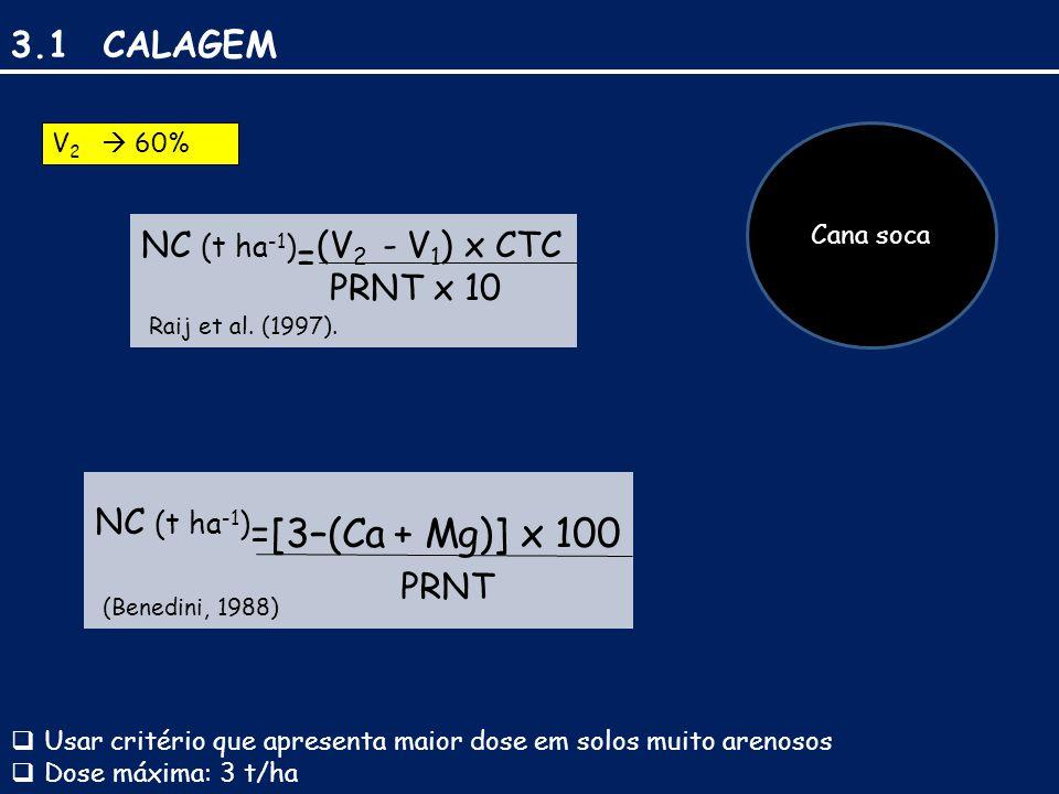 3.1 CALAGEM Cana soca NC (t ha -1 ) = (V 2 - V 1 ) x CTC PRNT x 10 Raij et al.