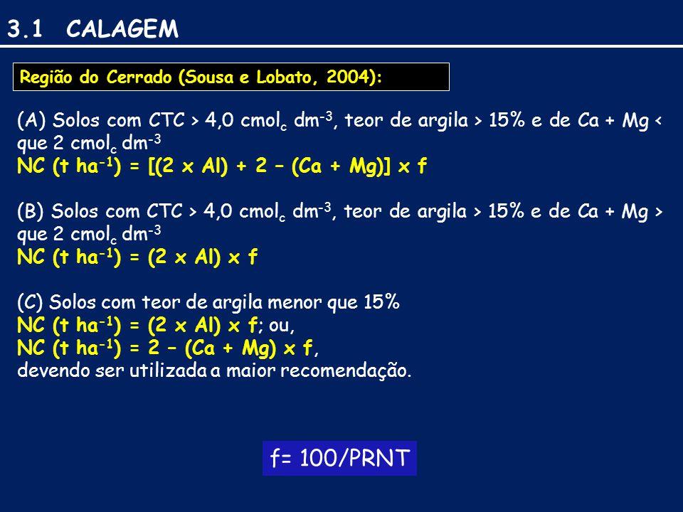 3.1 CALAGEM (A) Solos com CTC > 4,0 cmol c dm -3, teor de argila > 15% e de Ca + Mg < que 2 cmol c dm -3 NC (t ha -1 ) = [(2 x Al) + 2 – (Ca + Mg)] x f (B) Solos com CTC > 4,0 cmol c dm -3, teor de argila > 15% e de Ca + Mg > que 2 cmol c dm -3 NC (t ha -1 ) = (2 x Al) x f (C) Solos com teor de argila menor que 15% NC (t ha -1 ) = (2 x Al) x f; ou, NC (t ha -1 ) = 2 – (Ca + Mg) x f, devendo ser utilizada a maior recomendação.
