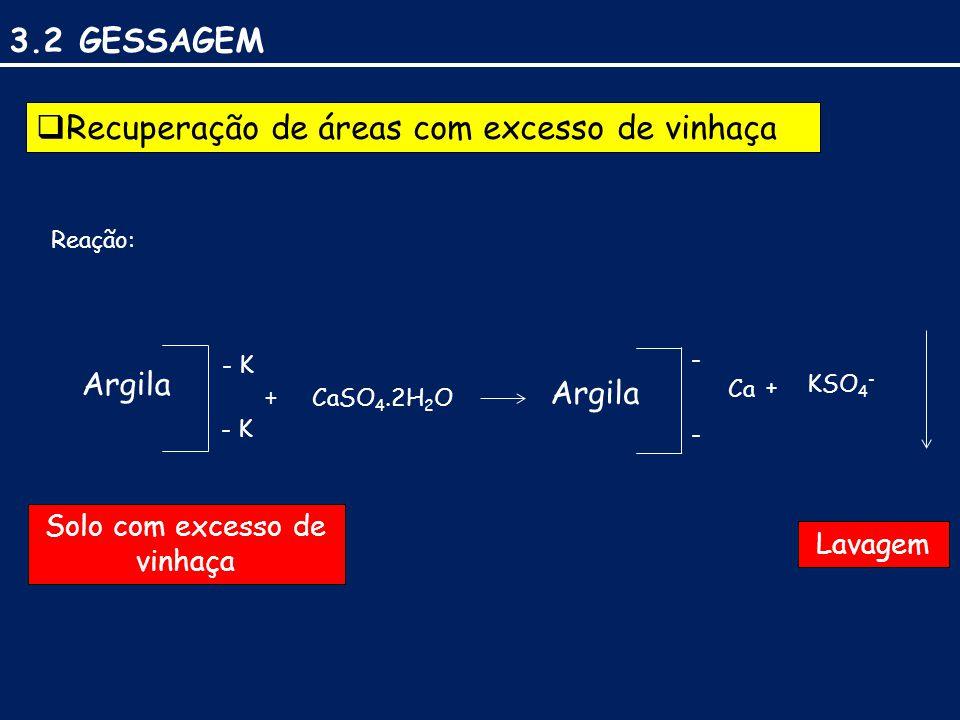 3.2 GESSAGEM  Recuperação de áreas com excesso de vinhaça Reação: Argila - K + CaSO 4.2H 2 O Argila - - Ca + KSO 4 - Solo com excesso de vinhaça Lavagem