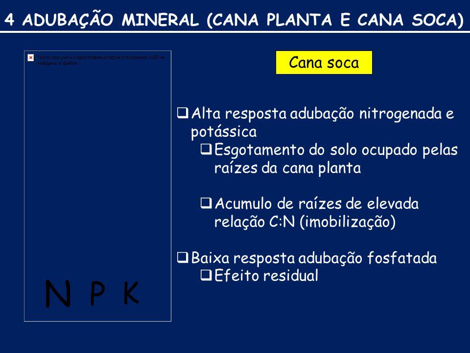 4 ADUBAÇÃO MINERAL (CANA PLANTA E CANA SOCA) N P K Cana soca  Alta resposta adubação nitrogenada e potássica  Esgotamento do solo ocupado pelas raízes da cana planta  Acumulo de raízes de elevada relação C:N (imobilização)  Baixa resposta adubação fosfatada  Efeito residual