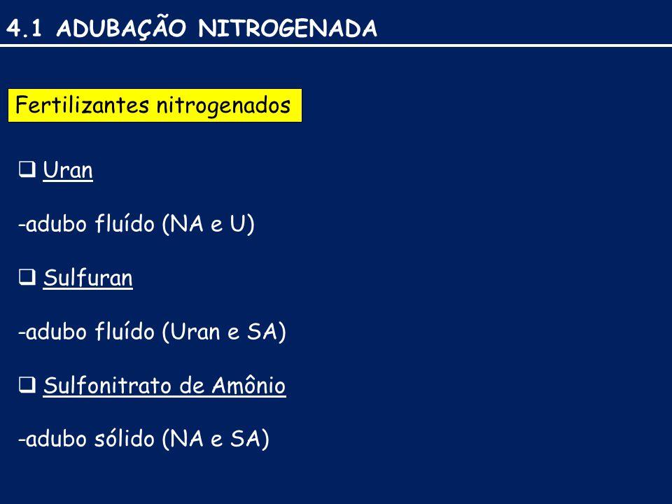 4.1 ADUBAÇÃO NITROGENADA Fertilizantes nitrogenados  Uran -adubo fluído (NA e U)  Sulfuran -adubo fluído (Uran e SA)  Sulfonitrato de Amônio -adubo sólido (NA e SA)