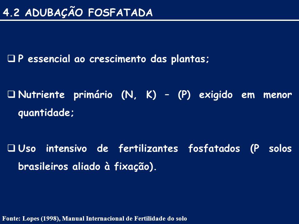 4.2 ADUBAÇÃO FOSFATADA  P essencial ao crescimento das plantas;  Nutriente primário (N, K) – (P) exigido em menor quantidade;  Uso intensivo de fertilizantes fosfatados (P solos brasileiros aliado à fixação).