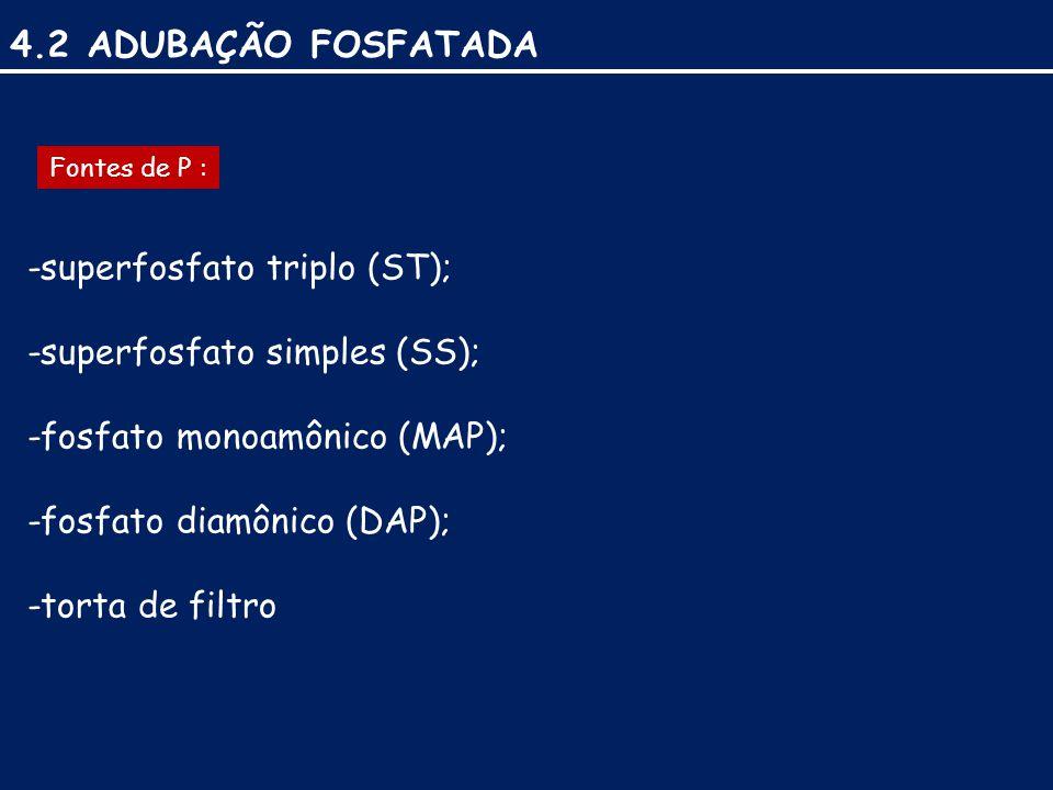 4.2 ADUBAÇÃO FOSFATADA -superfosfato triplo (ST); -superfosfato simples (SS); -fosfato monoamônico (MAP); -fosfato diamônico (DAP); -torta de filtro Fontes de P :