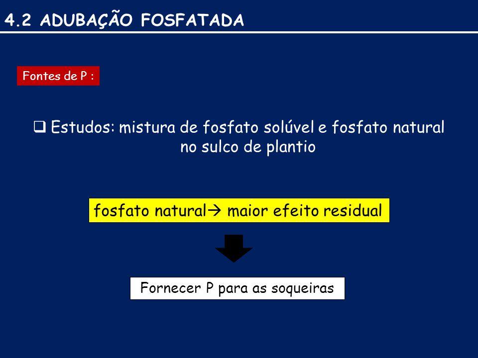 4.2 ADUBAÇÃO FOSFATADA Fontes de P :  Estudos: mistura de fosfato solúvel e fosfato natural no sulco de plantio fosfato natural  maior efeito residual Fornecer P para as soqueiras