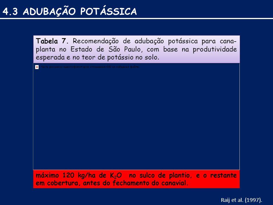 4.3 ADUBAÇÃO POTÁSSICA Tabela 7.