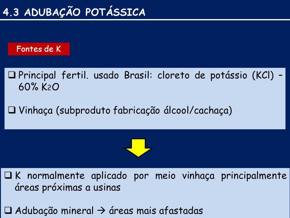 4.3 ADUBAÇÃO POTÁSSICA  Principal fertil.