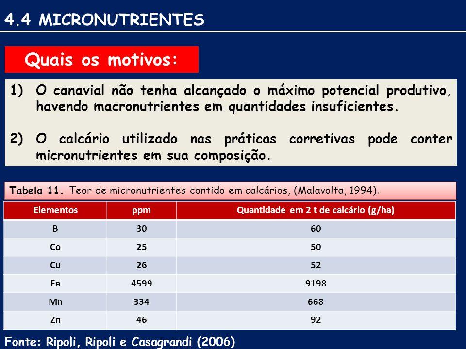 4.4 MICRONUTRIENTES Fonte: Ripoli, Ripoli e Casagrandi (2006) Quais os motivos: 1)O canavial não tenha alcançado o máximo potencial produtivo, havendo macronutrientes em quantidades insuficientes.