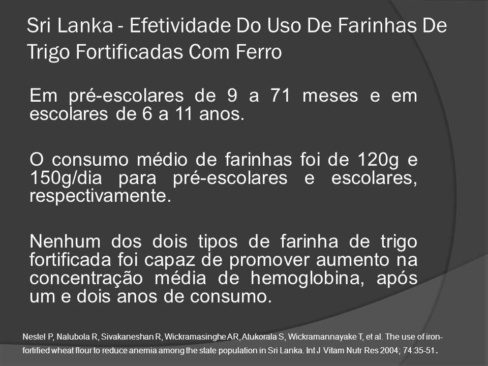 Sri Lanka - Efetividade Do Uso De Farinhas De Trigo Fortificadas Com Ferro Em pré-escolares de 9 a 71 meses e em escolares de 6 a 11 anos. O consumo m