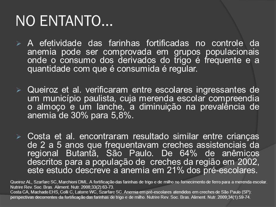 NO ENTANTO...  A efetividade das farinhas fortificadas no controle da anemia pode ser comprovada em grupos populacionais onde o consumo dos derivados