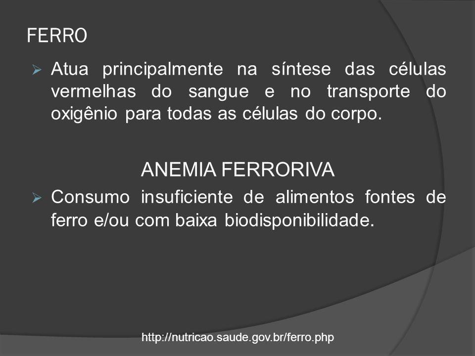 FERRO  Atua principalmente na síntese das células vermelhas do sangue e no transporte do oxigênio para todas as células do corpo. ANEMIA FERRORIVA 