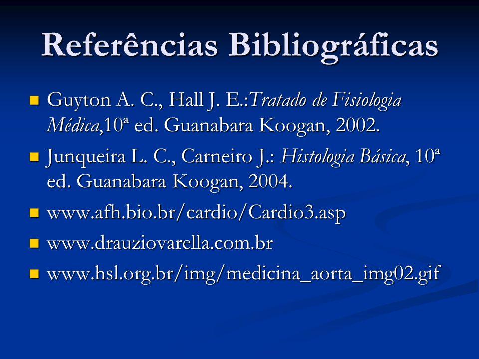 Referências Bibliográficas Guyton A. C., Hall J. E.:Tratado de Fisiologia Médica,10ª ed. Guanabara Koogan, 2002. Guyton A. C., Hall J. E.:Tratado de F