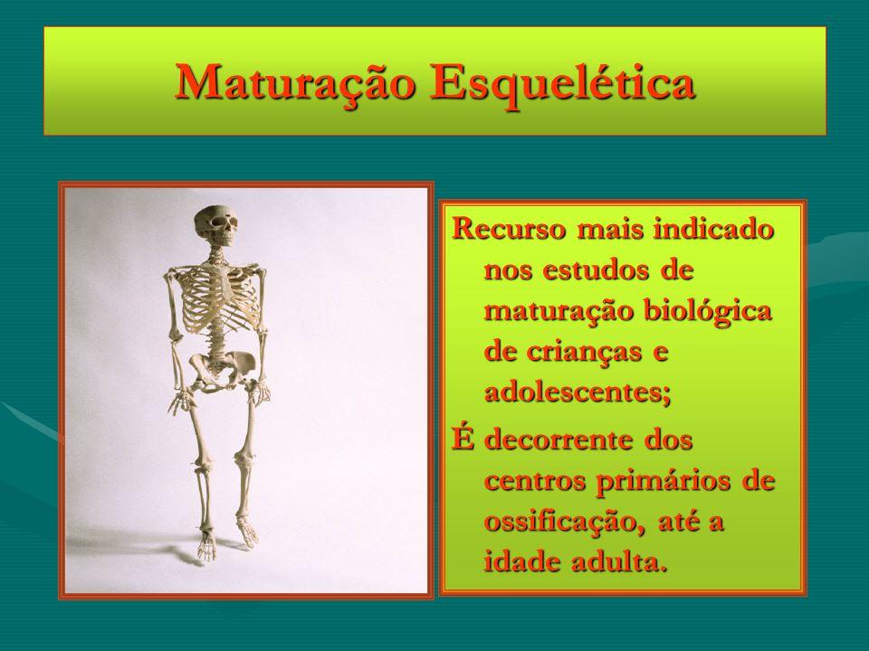 Maturação Esquelética Recurso mais indicado nos estudos de maturação biológica de crianças e adolescentes; É decorrente dos centros primários de ossif